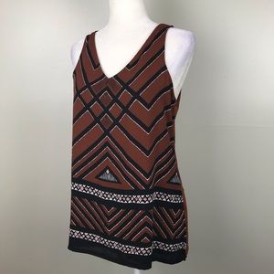 APT. 9 Aztec Print Sleeveless V-Neck Brown Blouse